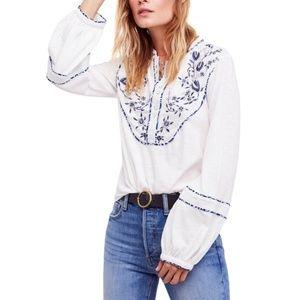 Free People Western Henley Embroidered Top Blouse